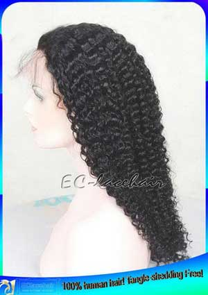 Indian Virgin Kinky Curl Human Hair Lace Front Wigs for African Americans