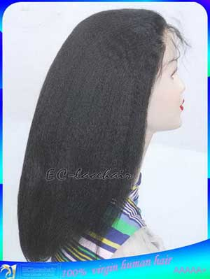 Indian Virgin Kinky Straight Full Lace Wig Human Hair Wholesale