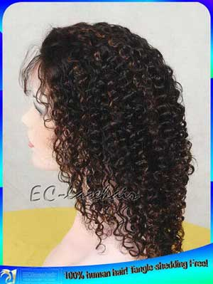 Indian Remy -b with -- highlight Kinky Curl Human Hair Full Lace Wigs Manufacturer