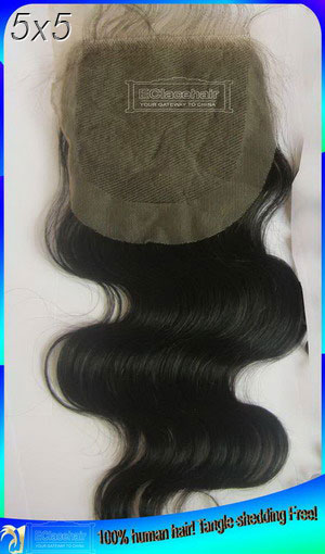 Indian hair Body Wave Top Lace Closures - part-Middle-Free Part