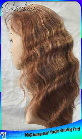 Indian Remy Body Wave - with -- highlight Human Hair Full Lace Wig Maker
