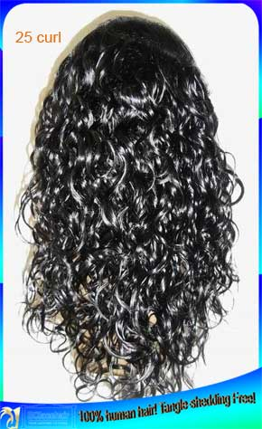 Best Quality Indian 25 Curl Human Hair Full Lace Wigs Wholesale
